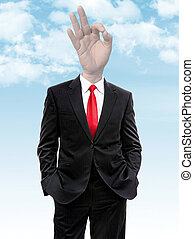 business man with hand ok gesture instead of head