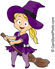 Witch on Her Broomstick - Illustration of a Girl in a Witch...