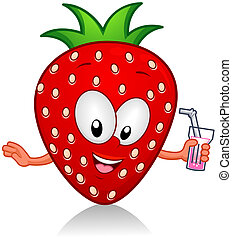 Strawberry Drink - Illustration of a Strawberry Character...