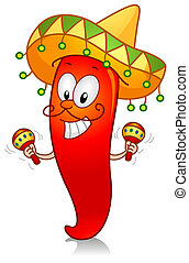 Chili Playing with Maracas - Illustration of a Chili...