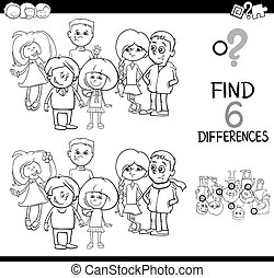 spot the difference coloring page - Black and White Cartoon...