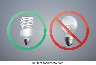 Fluorescence and incandescent bulbs - Vector illustration...