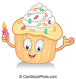 Cupcake with Candle Gesture - Illustration of a Cupcake...