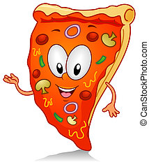 Pizza Gesture - Illustration of a Pizza Character Gesturing...