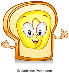 Bread and Butter - Illustration of a Bread Character Giving...