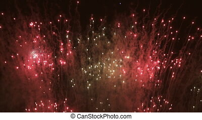 Red Fireworks in super slow motion - Fireworks with black...