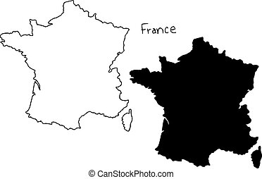 outline and silhouette map of France - vector illustration...