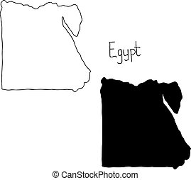 outline and silhouette map of Egypt - vector illustration...