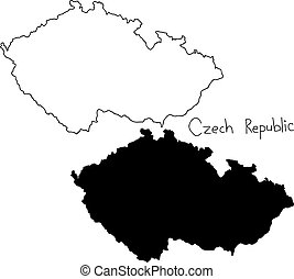 outline and silhouette map of Czech Republic - vector...