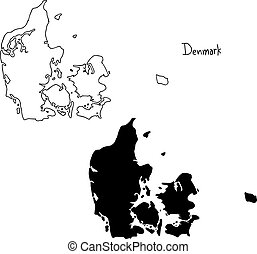 outline and silhouette map of Denmark - vector illustration...