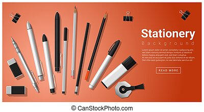 Stationery scene with set of office supplies background 2