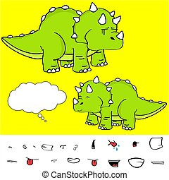 funny baby triceratops cartoon expressions set6