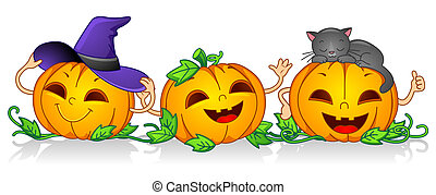 Happy Pumpkins - Illustration of Pumpkin Characters Posing...