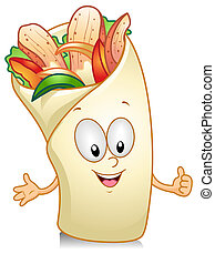 Tacos Gesture - Illustration of a Tacos Character Giving a...