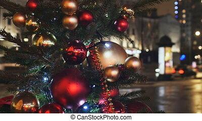 Christmas decorations on the street. Street illumination....