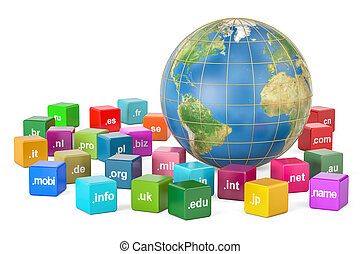 Earth Globe with domain names, 3D rendering