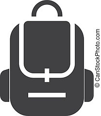 School bag icon in black on a white background. Vector...