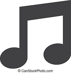 Music note icon in black on a white background. Vector illustration