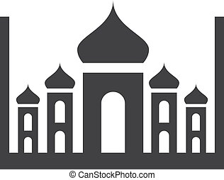 Taj Mahal icon in black on a white background. Vector...