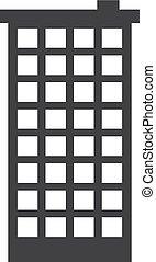 Skyscraper icon in black on a white background. Vector...