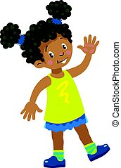 Funny little african girl waving by hand - Children vector...