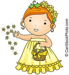 Flower Girl - Illustration of a Little Flower Girl...