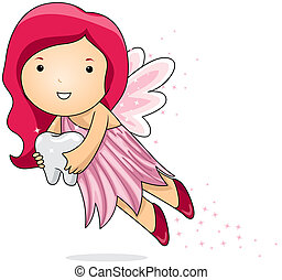 Tooth Fairy - Illustration of a Tooth Fairy Carrying a Tooth