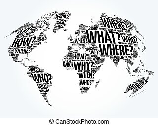 Question Words World Map in Typography