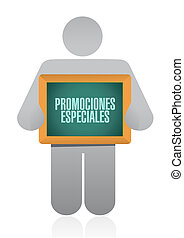 special promotions in Spanish sign concept illustration...