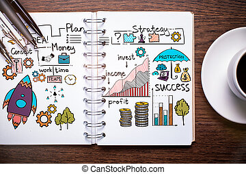 Entrepreneurship concept - Top view of spiral notepad with...