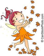 Autumn Fairy - Illustration of an Autumn Fairy Playing with...