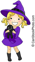Female Witch - Illustration of Young Girl Dressed as a Witch...