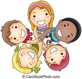 Hands In - Illustration of a Small Group of Children Joining...