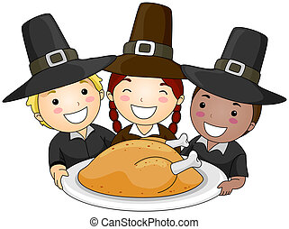 Thanksgiving Pilgrim - Illustration of a Small Group of...