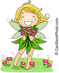 Spring Fairy - Illustration of a Spring Fairy Holding a...