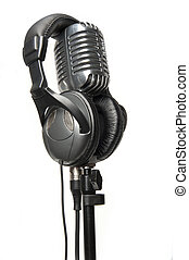 vendimia, micrófono, moderno, auriculares
