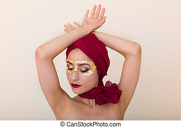 Cosmetics with gold leaf - Beautiful model with gold leaf...
