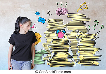 Workload concept - Thoughtful young european woman on...