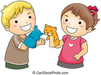 Puppeteers - Illustration of Kids Playing with Sock Puppets