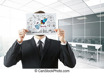 Start up concept - Young businessman covering face with...
