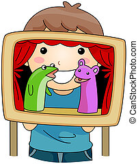 Puppet Show - Illustration of a Kid Hosting a Puppet Show
