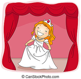 Stage Actress - Illustration of a Kid Dressed in a Princess...