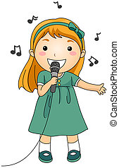 Singing Kid - Illustration of a Singing Girl