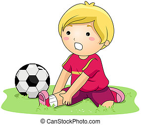 Sprain - Illustration of a Kid With a Sprained Ankle