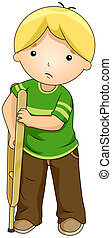 Kid Using a Crutch - Illustration of a Boy Supporting...