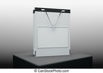 Ad concept - Close up of white shopping bag placed on black...