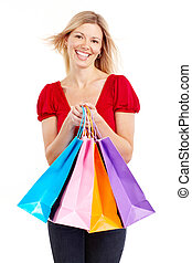 Shopping woman - Shopping happy woman. Isolated over white...