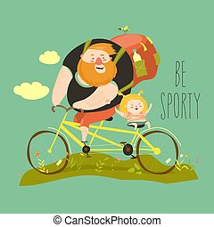Father and his daughter ride tandem bike. Vector...