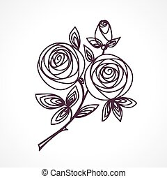 Roses. Stylized flower bouquet hand drawing.