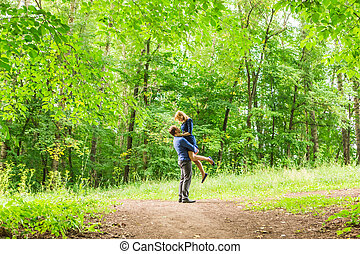 Beautiful couple in love on nature